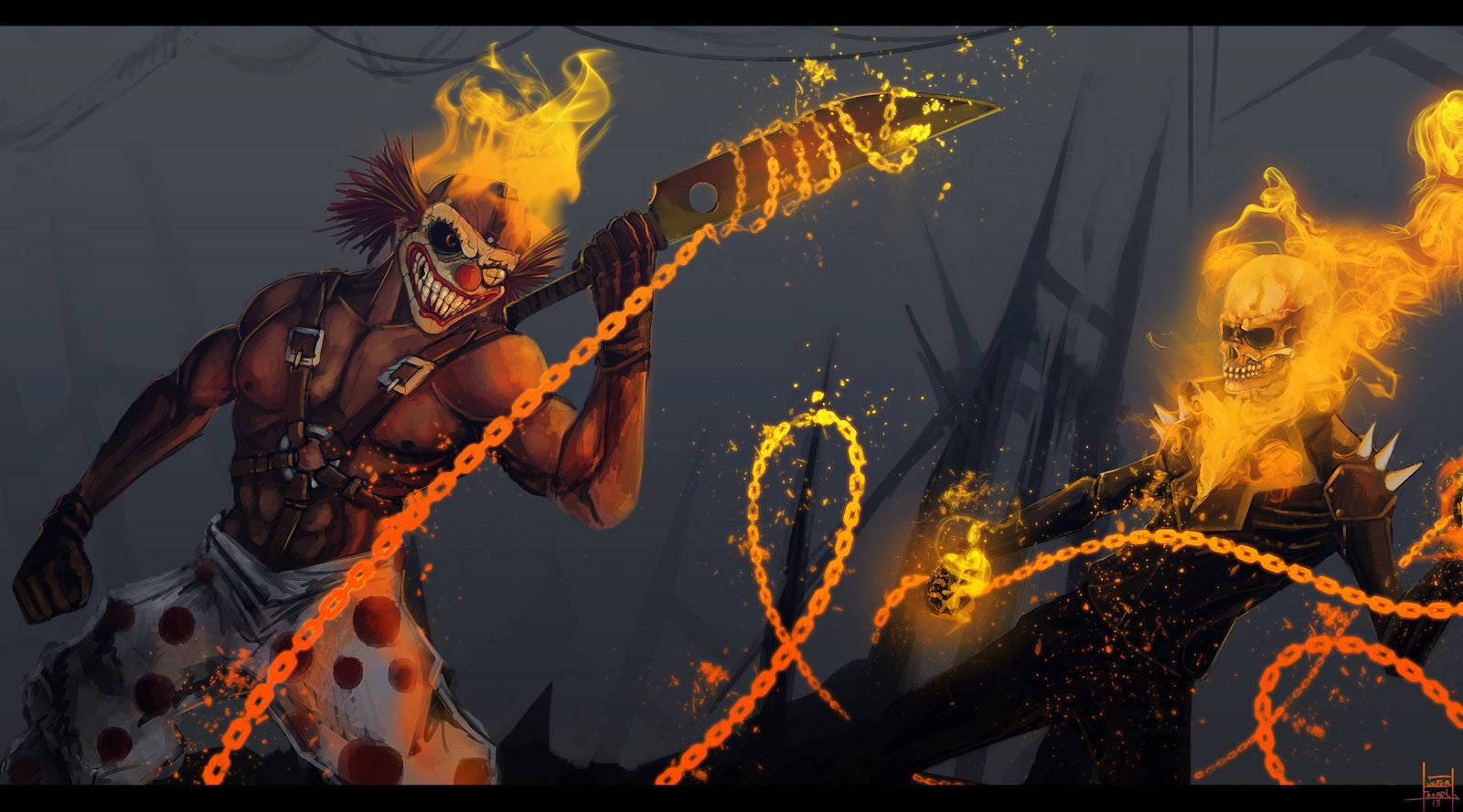 sweet_tooth_vs_ghost_rider_by_thexartxofxluxifer-d6l72gy